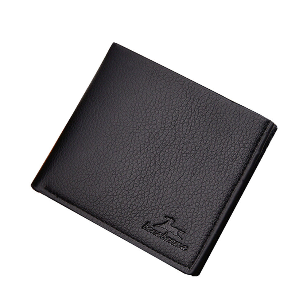 Short Bifold Business Style Man Leather Wallet