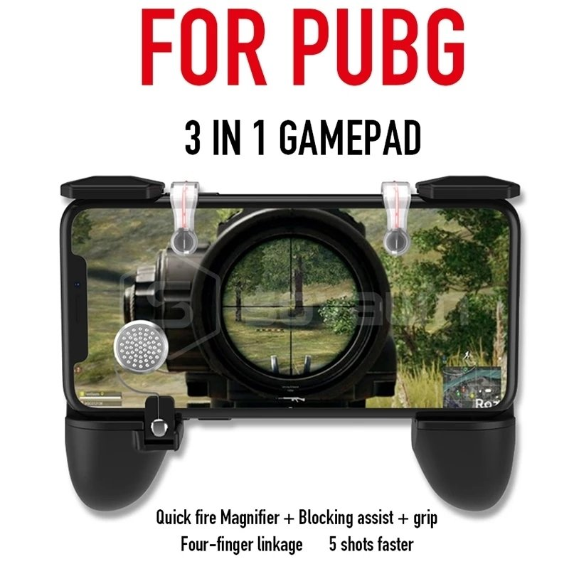 3 IN 1 Pubg Mobile Game Controller Gamepad (Quick fire Magnifier+ Blocking assist+grip)