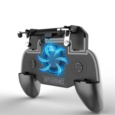 SR 4 in 1 Mobile PUBG Game Controller Upgrade Version Gamepad + Shoot and Aim Trigger + Phone Cooling Pad + Power Bank Mobile for Android iOS
