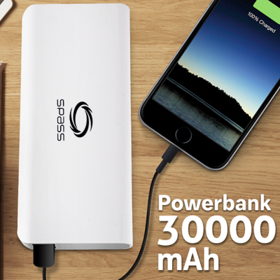 SPASS 30,000 mAh Power Bank For SmartPhone & Tablets, SP605, White