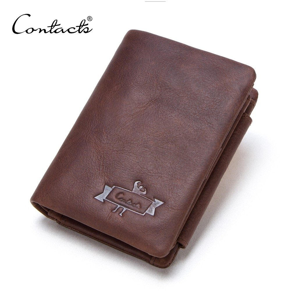 Mens Trifold Wallet Genuine Leather Credit Card Holder Purse with Zipper Pocket- M1002