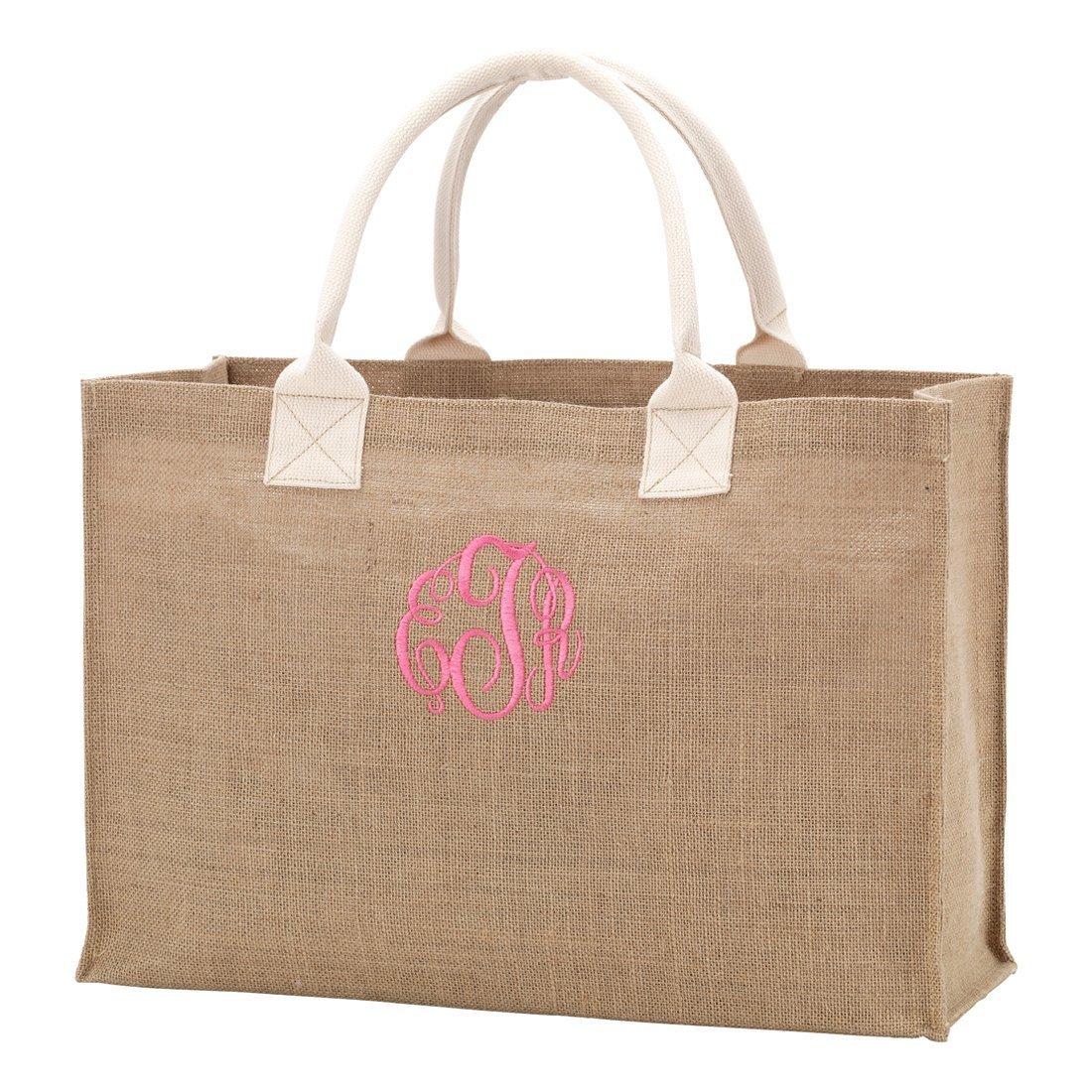 393995c93 Monogrammed Burlap Tote Bag