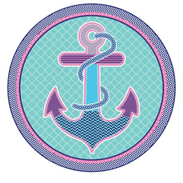 Porthole Anchor Velour Round Beach Blanket With Fringes 59""