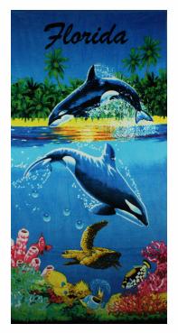 ORCAS SWIMMING IN THE OCEAN TOWEL