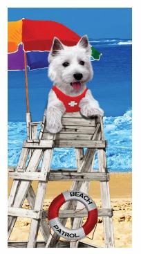 DOG ON DUTY BEACH TOWEL