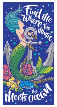 """Find Me Where The Music Meets The Ocean 100% Velour Mermaid Beach Towel W28"""" X L58"""""""