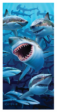SHARK INVASION BEACH TOWEL