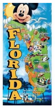 DISNEY'S MICKEY  MOUSE & FRIENDS FLORIDA MAP BEACH TOWEL
