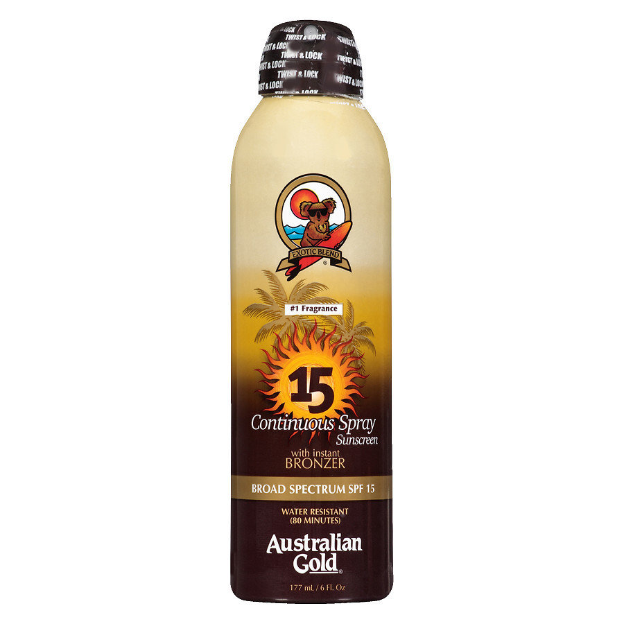 AUSTRALIAN GOLD CONTINUOUS SUNSCREEN SPRAY WITH BRONZER SPF 15