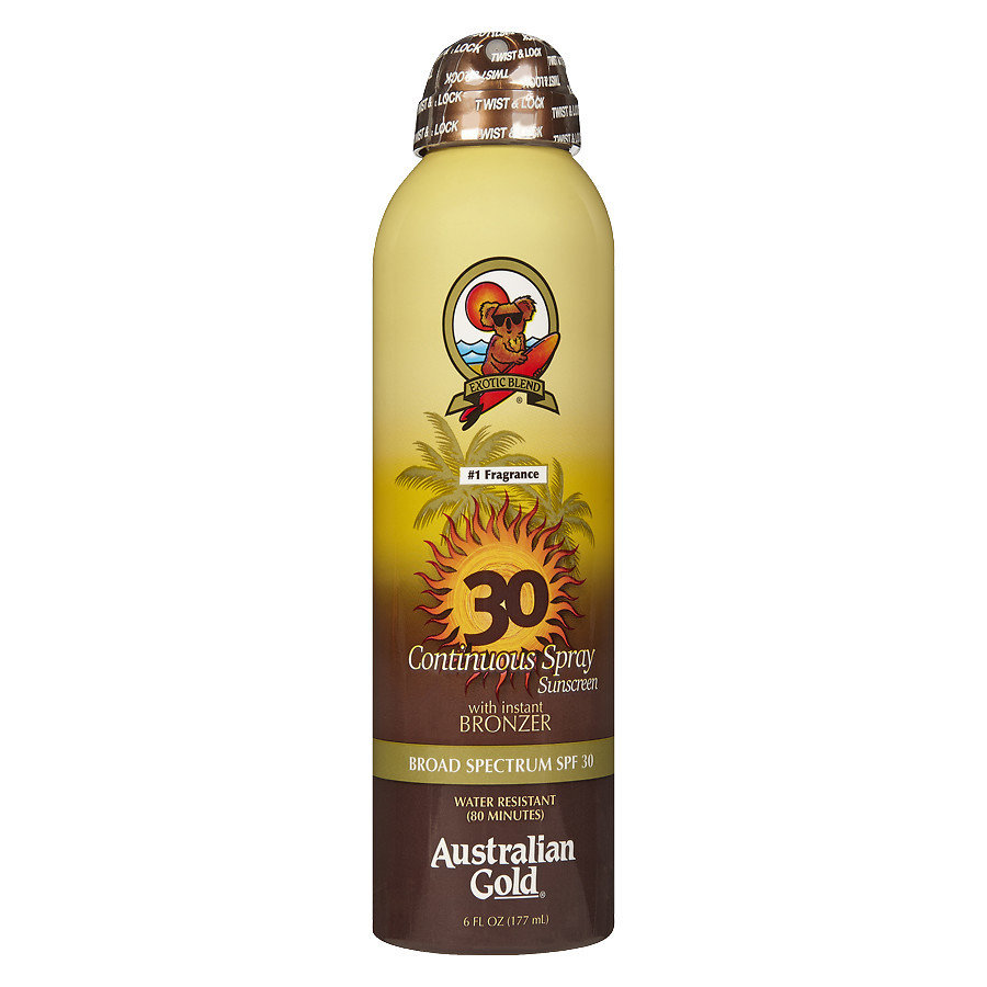 AUSTRALIAN GOLD CONTINUOUS SUNSCREEN SPRAY WITH BRONZER SPF 30