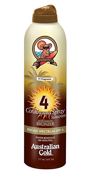 AUSTRALIAN GOLD CONTINUOUS SUNSCREEN SPRAY WITH BRONZER SPF 4