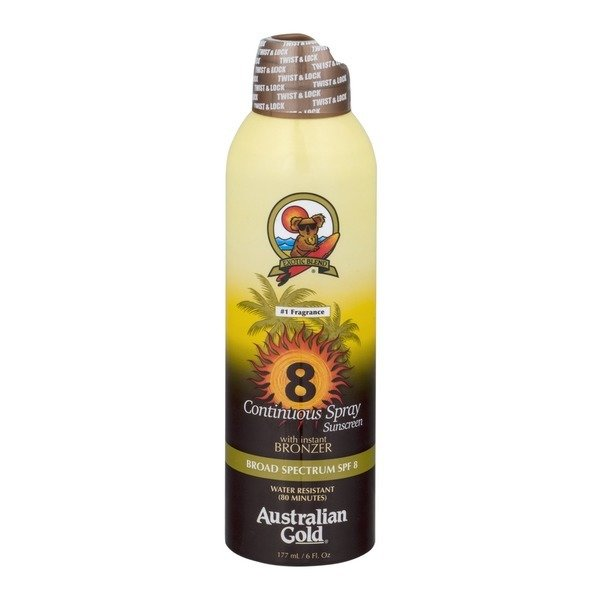 AUSTRALIAN GOLD CONTINUOUS SUNSCREEN SPRAY WITH BRONZER SPF 8