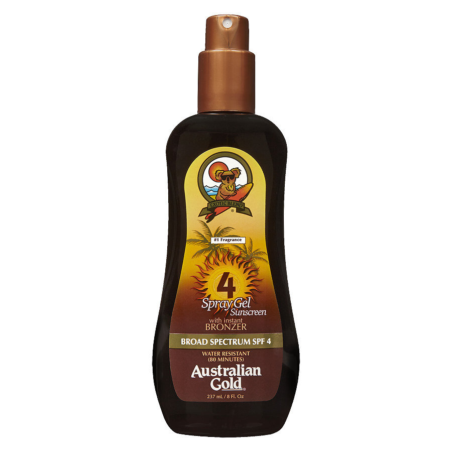 AUSTRALIAN GOLD SUNSCREEN SPRAY GEL WITH BRONZER SPF 4