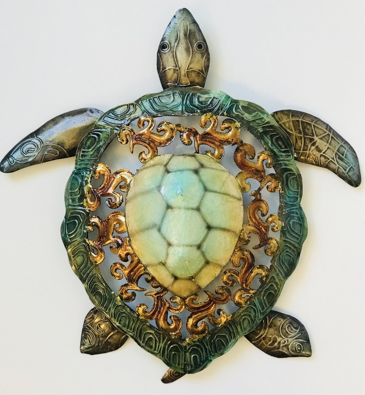 "Rustic Metal & Capiz Turtle Wall Art 13"""