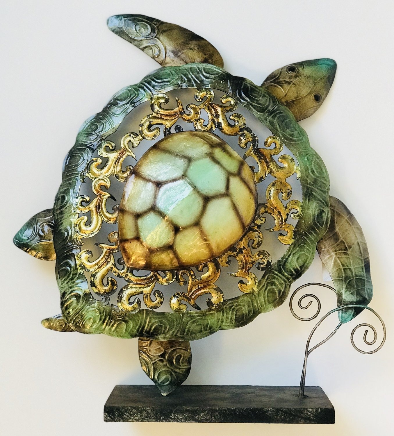 Metal & Capiz Turtle on a Stand 15.5""