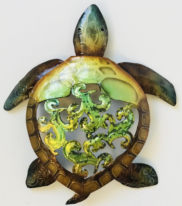 "Rustic Metal & Capiz Turtle Wall Art 9"""