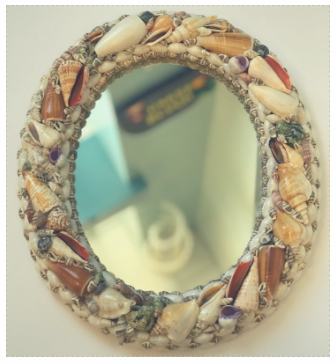 """Natural Shell Mirror Oval 14"""" X 12"""""""