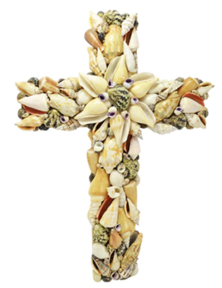 "Natral Assorted Seashell Cross 16"" Wall Decor"