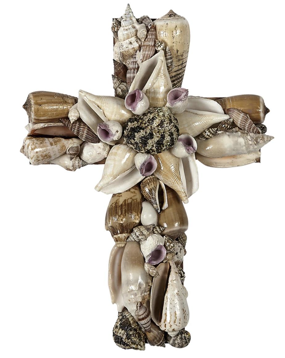 "Natural Assorted Seashell Cross 8"" Wall Decor"