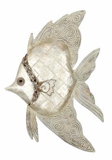 "Wall Decor-Capiz Ivory Fish 8 x 12"""