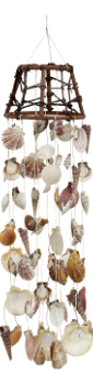 "Woodtop Wind Chime With Assorted Sea Shells 6""W X 23""L"