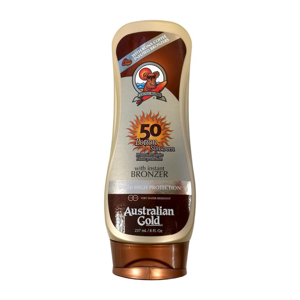 AUSTRALIAN GOLD SUNSCREEN LOTION WITH BRONZER SPF 50