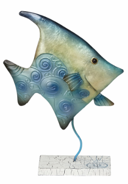 METAL CAPIZ BANNER FISH SEA FOAM GREEN, AQUA  BLUE, AND DAFFODIL YELLOW ON A 10' STAND