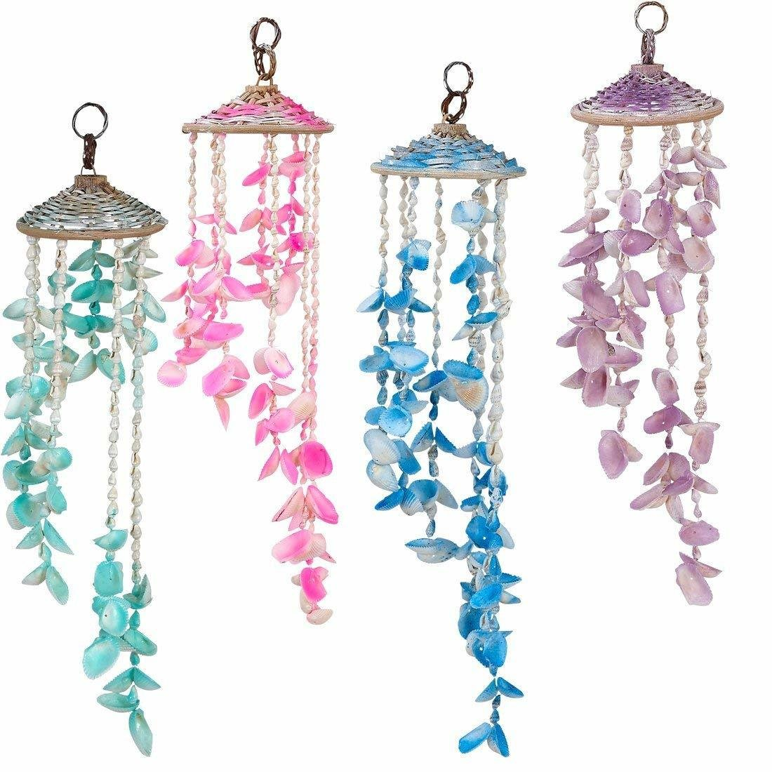 Rattan Hat Beach Shells Wind Chime Decorative Outdoor Seashells Windchime, Unique Tropical Wind Chimes 4W'*18L