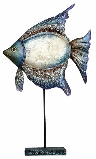 METAL FISH ON STAND 14.5