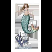 "Metal & Capiz Mermaid on stand 12"""