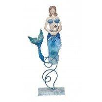 "Metal & Capiz Mermaid on stand 13"""