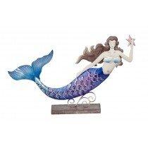 "Metal & Capiz Swimming Mermaid on stand 15""X 9"""