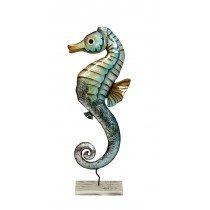 """Metal & Capiz Rustic Seahorse 7*18"""""""