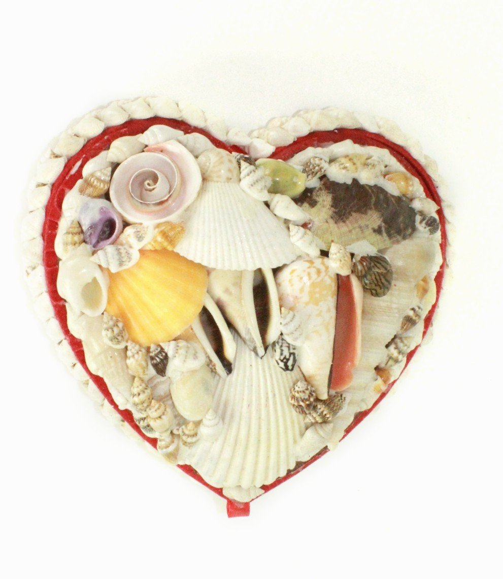 Natural Seashell Large Heart Shaped Jewelry Box
