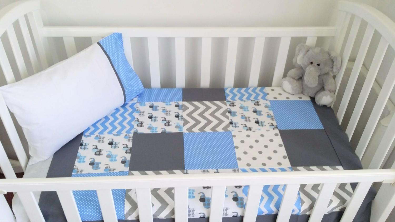on sale 9e39b 6f663 Sky Blue, white & Grey Elephant Patchwork Cot / toddler bedding set