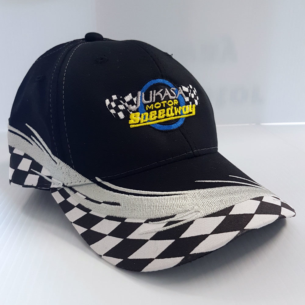 Checkered Flag Cap, Black (Adjustable) 00020