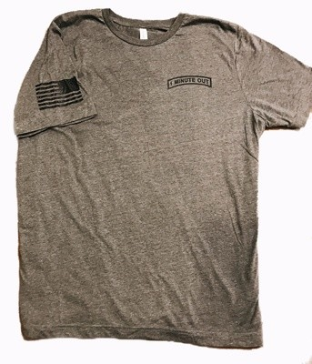 1 Minute Out Gray  Logo T-Shirt-2XLARGE