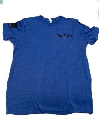 1 Minute Out Royal Blue  Logo T-Shirt-XLARGE
