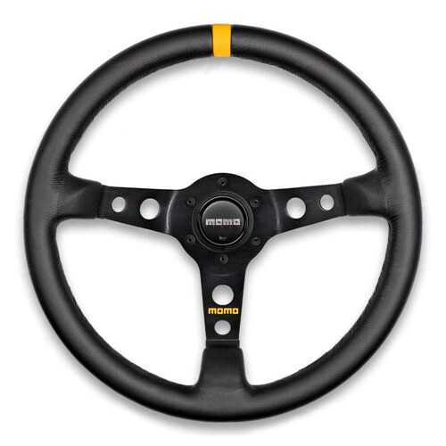 Steering Wheel Momo Model 07 35 φ New Logo Black Leather/Black Spokes