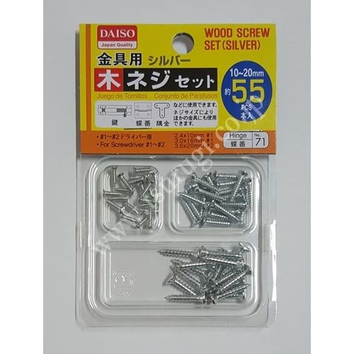 Wood Screw Set Silver 55pcs