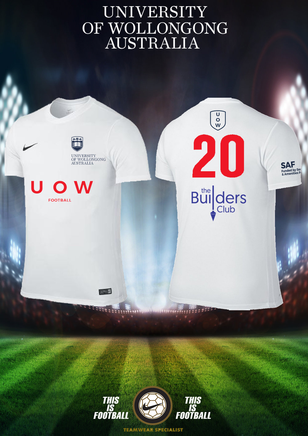 UOWFC 2019 Nike Home White Playing Jersey - Mens 24