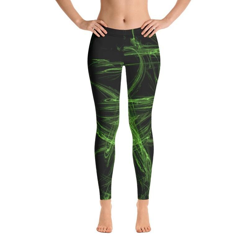 Green Spiral Leggings for women Printful USA