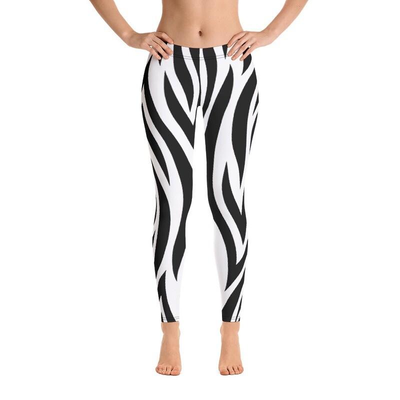 Zebra Strap Leggings Balck and White Printful Printed USA
