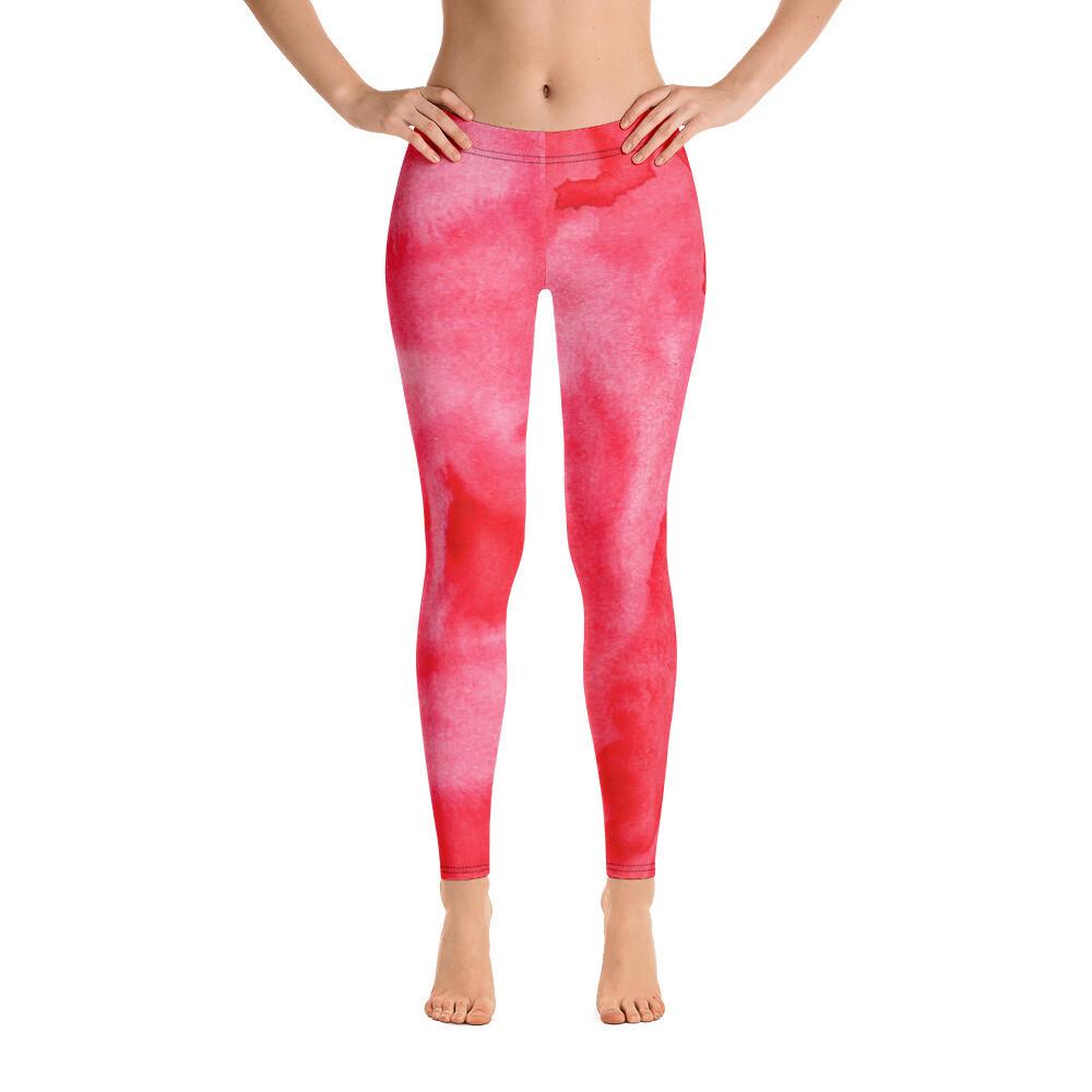 Red Water Colour Modern Printed Leggings