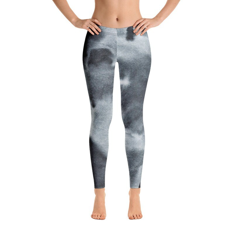 Black White Printed Leggings for Women