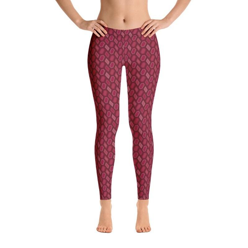 Stylish Red Full Printed Leggings
