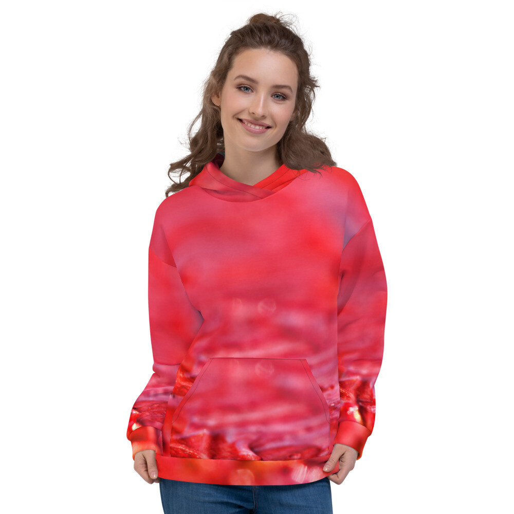 Red Brush Pullover Printed Unisex Hoodie