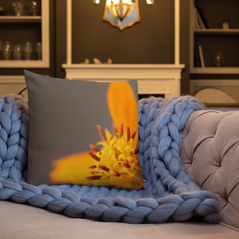 Flower Printed Throw Premium Pillow
