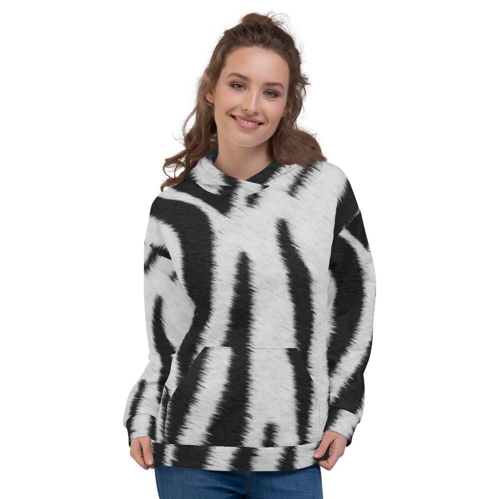 Zebra Printed Fur Look Unisex Hoodie