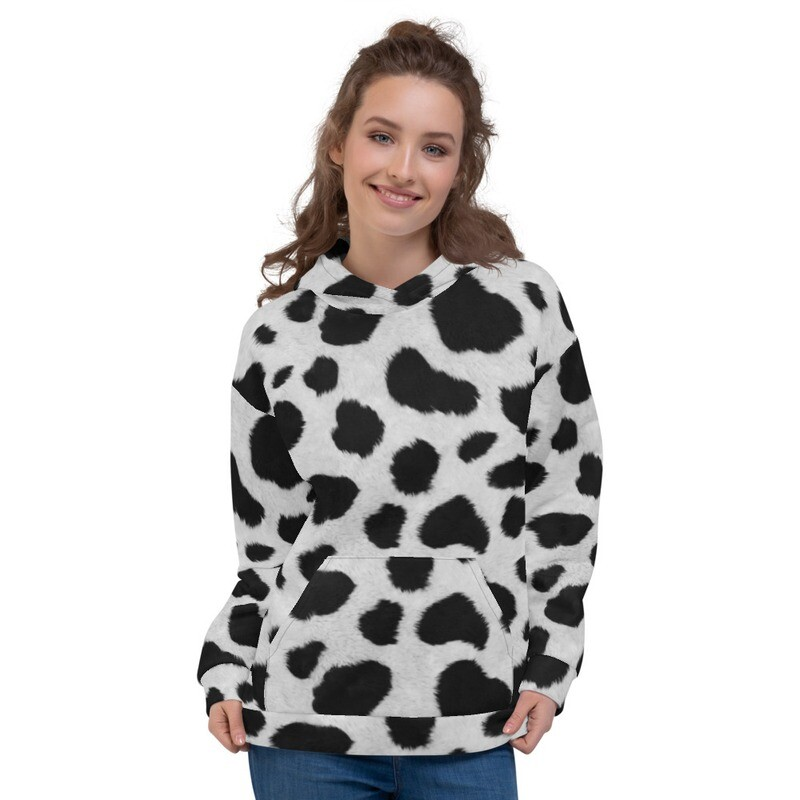 White Cheetah Fur look Printed Unisex Hoodie